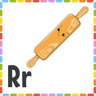 Englisches alphabet. buchstabe r - nudelholz. abc quadratische karteikarten.