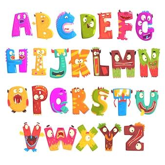 Englisches alphabet der bunten karikaturkinder mit lustigen monstern. bildung und entwicklung von kindern detaillierte bunte illustrationen
