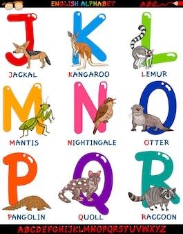 Englisches alphabet der karikatur mit tieren