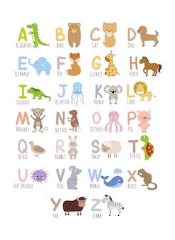 Englisches alphabet für kinder mit bildern von niedlichen tieren. kinderalphabet zum lernen von buchstaben. vektor einer zeichentrickfigur. zoo und tiere.