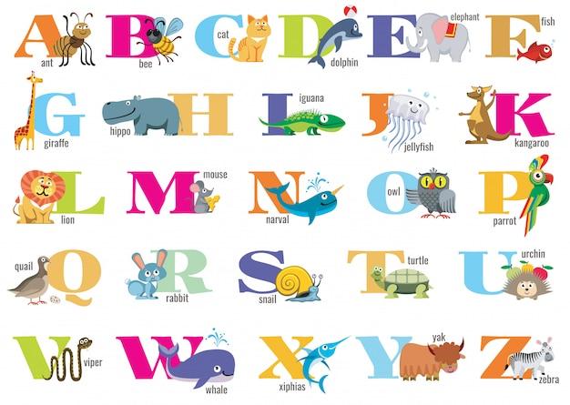 Englisches alphabet für kinder mit niedlichen tieren
