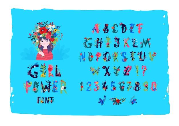Englisches alphabet mit blumen und pflanzen.