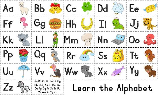 Englisches alphabet mit comic-figuren vektor-set heller farbstil lernen sie abc