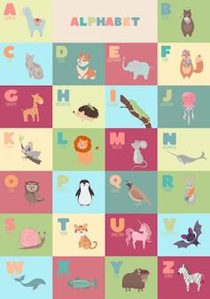 Englisches alphabet mit niedlichen cartoon-tieren für kindererziehung