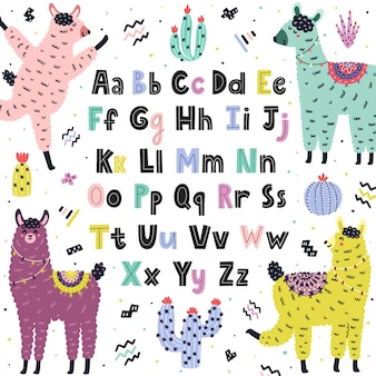 Englisches alphabet mit niedlichen lamas. bildungsplakat für kinder mit lustigem alpaka mit groß- und kleinbuchstaben. skandinavischer stilhintergrund. illustration