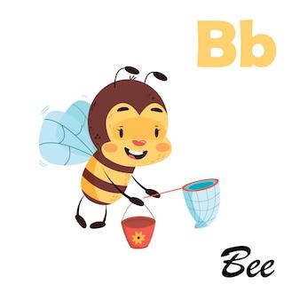 Englisches alphabet mit tieren für kinder. biene abc auf weißem lokalisiertem hintergrund