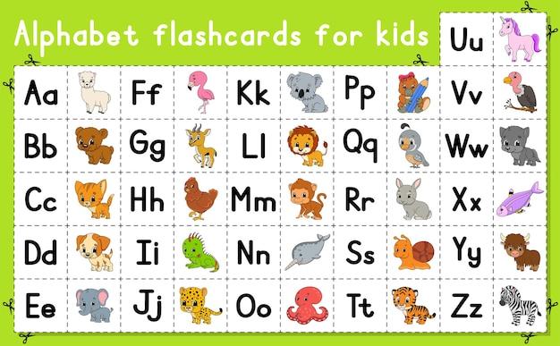 Englisches alphabet mit zeichentrickfiguren