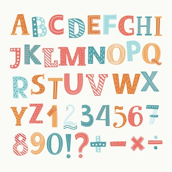 Englisches alphabet und zahlen. teilung, addition, zeichen, minuszeichen