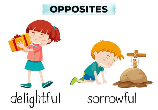 Englisches entgegengesetztes wort von entzückendem und traurigem