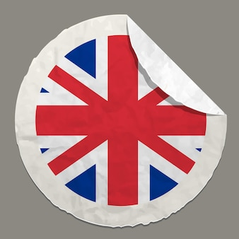 Englisches flaggensymbol auf einem papieretikett