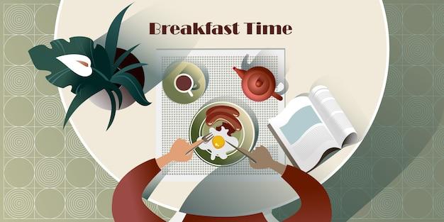 Englisches frühstück mit einem buch. draufsicht illustration