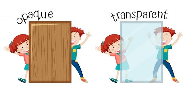 Englisches gegenüberliegendes wort undurchsichtig und transparent