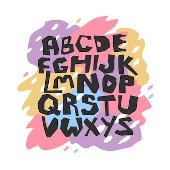 Englisches handgezeichnetes alphabet in der vektorillustration lokalisiert auf buntem fleckenhintergrund