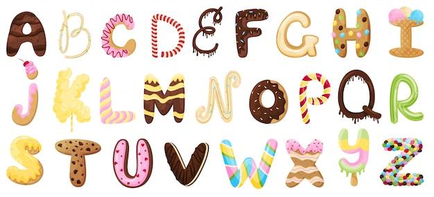 Englisches süßes alphabet. illustration auf weißem hintergrund.
