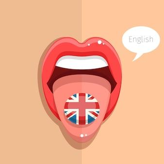 Englischsprachiges konzept. englische sprache zunge offener mund mit flagge von großbritannien, frauengesicht. flache designillustration.