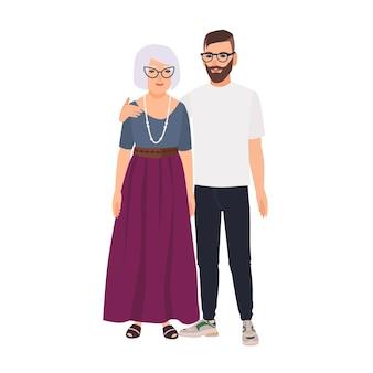 Enkel umarmt seine großmutter. familienporträt der alten mutter und des erwachsenen sohns, die zusammen stehen. entzückende zeichentrickfiguren isoliert auf weißem hintergrund. bunte vektorillustration im flachen stil.
