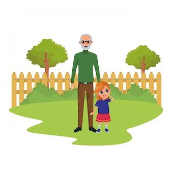 Enkelin und großvater von hand