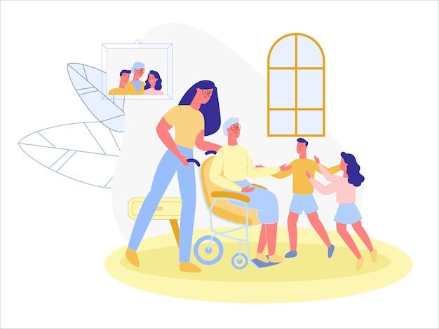 Enkelkinder, großmutter im rollstuhl besuchen