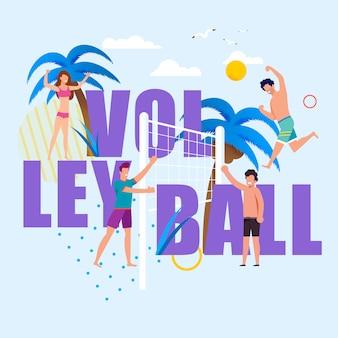Enorme volleyball-buchstaben und glückliche karikatur-leute. zufriedene männer und frauen in badeanzügen, die das spiel-strand-spiel genießen