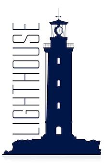 Enormer blauer leuchtturm lokalisiert auf weißem hintergrund. vektor-silhouette.
