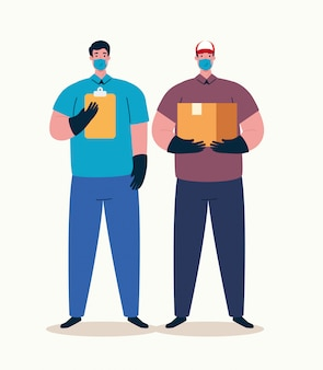 Entbindungsarbeiter mit medizinischer maske während der covid 19-pandemie