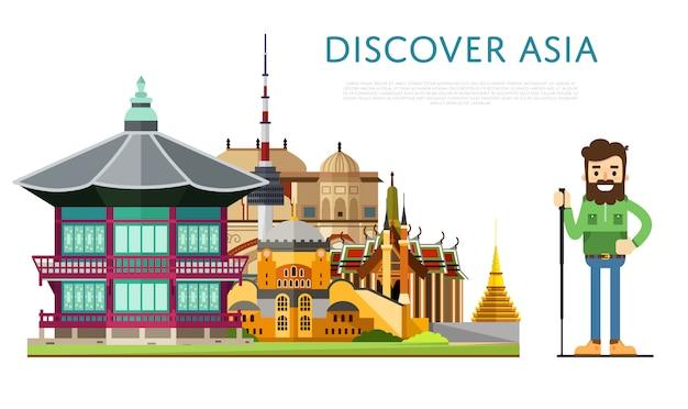 Entdecken sie asien-banner mit berühmten sehenswürdigkeiten