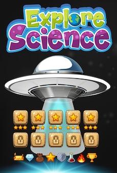 Entdecken sie das wissenschaftslogo mit der hintergrundszene des ufo-spiels