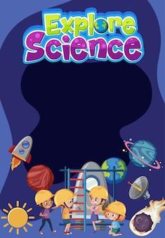 Entdecken sie das wissenschaftslogo mit leerem banner und kindern, die ein ingenieurkostüm mit weltraumobjekten tragen