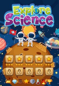 Entdecken sie das wissenschaftslogo mit planeten in der hintergrundszene des weltraumspiels