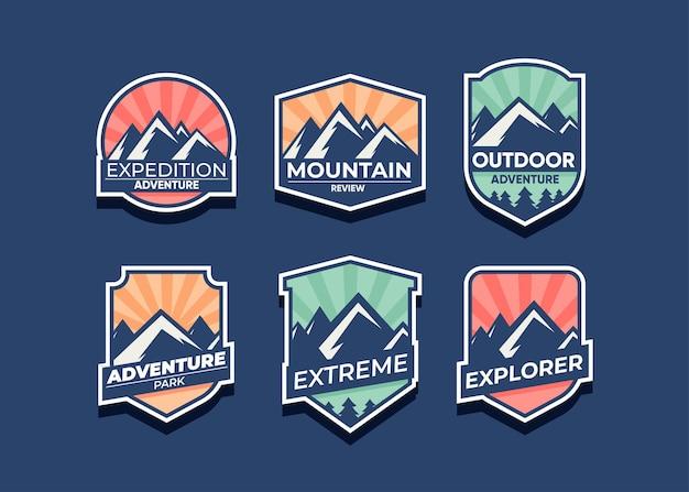 Entdecken sie den mountain advanture-symbolsatz