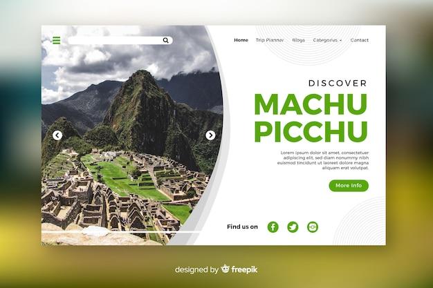 Entdecken sie die reiselandingpage von machu picchu