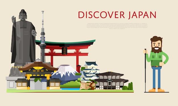Entdecken sie japan banner mit berühmten sehenswürdigkeiten