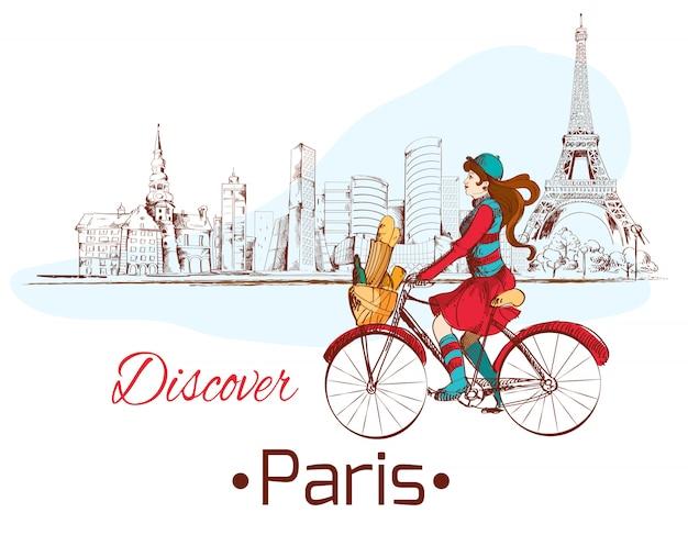 Entdecken sie paris schöne illustration mit frau auf dem fahrrad