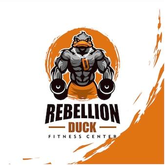 Ente mit starkem körper, fitnessclub oder fitnessstudio-logo. gestaltungselement für firmenlogo, etikett, emblem, bekleidung oder andere waren. skalierbare und bearbeitbare illustration