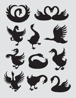 Ente und schwan silhouette