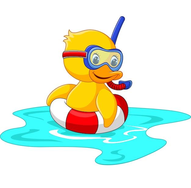Enten-taucher mit dem schwimmengurt, der sitzt