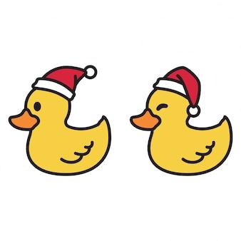 Enten tragen eine weihnachtsmannmütze