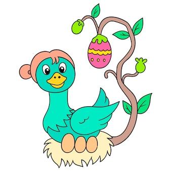 Entenmutter im nest brütet die eier aus, vektorgrafiken. doodle symbolbild kawaii.