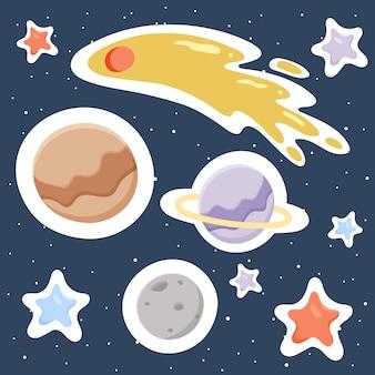 Entfernte planeten, sterne, asteroiden.weltraum.