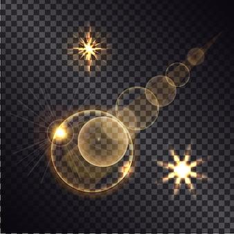 Entfernter brennender heller stern mit belichteter straße auf nachttransparentem hintergrund