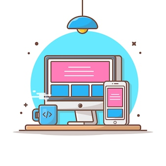 Entgegenkommende website-vektor-ikonen-illustration. desktop und smartphone, kaffee, technologie-ikonen-konzept-weiß lokalisiert
