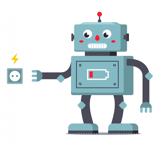 Entladen geht der roboter zur steckdose, um seine energieversorgung wieder aufzufüllen. charakter