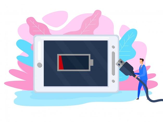Entladenes smartphone flat