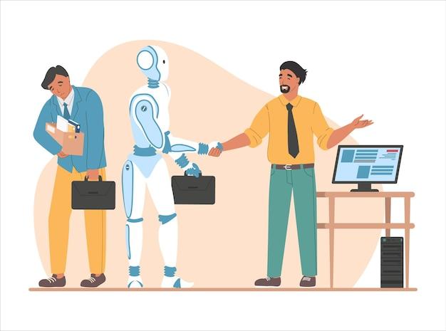Entlassungsangestellter, chef, der roboterhand rüttelt, flache vektorillustration. überlegenheit der künstlichen intelligenz. automatisierung.