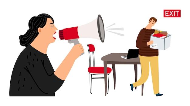 Entlassungsangestellter. chef schreit den ausscheidenden angestellten an. manager mit schachtel mit büromaterial verlässt jobillustration