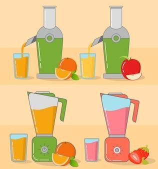 Entsafter und mixer erdbeermilchshake frisch gepresster apfel- und orangensaft