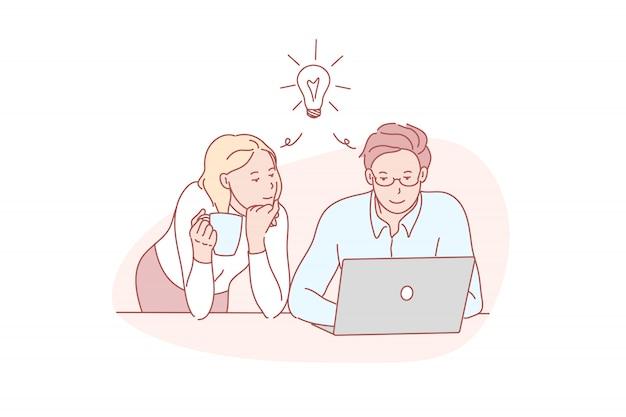 Entscheidung, zusammen, denkend, mitarbeiter, illustration