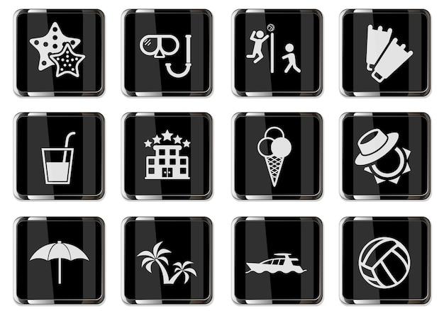 Entspannen am strand piktogramme in schwarzen chromknöpfen. symbolsatz für ihr design. vektorsymbole