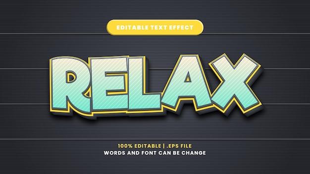 Entspannen sie bearbeitbaren texteffekt im modernen 3d-stil