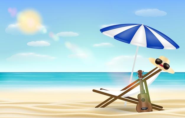 Entspannen sie sich strandstuhlregenschirm mit seestrandhintergrund